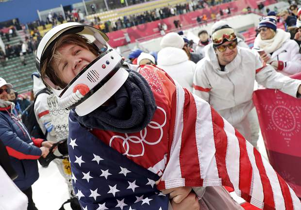 Kyle Mack celebrates after winning the silver medal in the men's big air snowboard competition at the 2018 Winter Olympics in Pyeongchang, South Korea on Feb. 24.