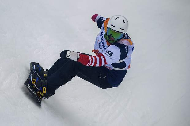 Mike Minor of Frisco competes during the 2018 Paralympic banked slalom competition at the Jeongseon Alpine Centre in Jeongseon, South Korea on March 16.