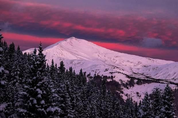 Sunrise over Jacques Peak in between storms on Nov. 4.