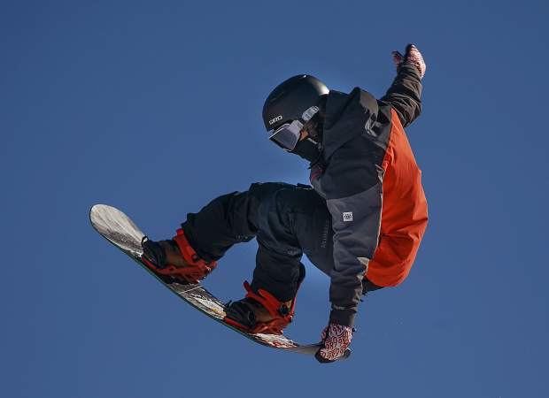 Dillon resident snowboarder Chase Blackwell, 19, executes a trick in mid-air during practice on Thursday, Jan. 31, at Copper Mountain Resort. Blackwell was selected to represent the United States at next week's 2019 World Championships in Park City, Utah.