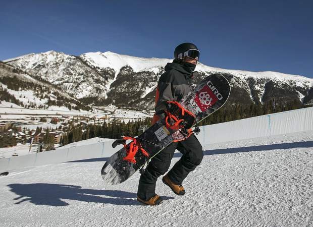 Dillon resident snowboarder Chase Blackwell, 19, hikes up the halfpipe during practice on Thursday, Jan. 31, at Copper Mountain Resort. Blackwell was selected to represent the United States at next week's 2019 World Championships in Park City, Utah.