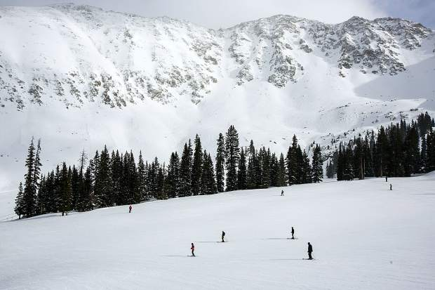 Skiers and snowboarders enjoy crowdless slopes at Arapahoe Basin Ski Area Monday afternoon, Feb. 18.