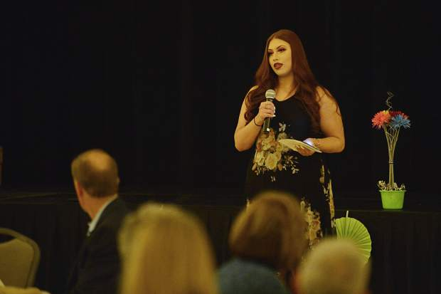 Jewel Arledge talks about how a court-appointed special advocate helped her escape an abusive childhood Wednesday night during CASA of the Continental Divide's celebration dinner at the Silverthorne Pavilion.