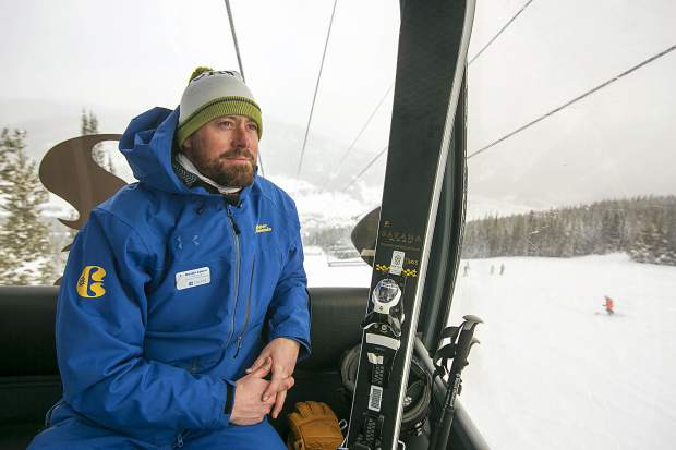 Copper Mountain Resort's new general manager and former NFL player Dustin Lyman rides on the new American Eagle gondola lift on Friday, Jan. 25, at the resort.