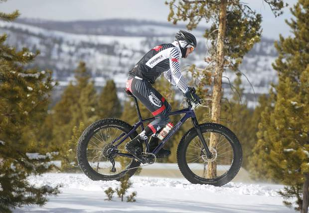 Ross Delaplane, of Golden, pedals in the third annual Frisco Freeze Fat Bike race on Saturday, Feb. 23, on the Frisco Peninsula. Delaplane placed third on the 14K course with a time of 49 minutes.