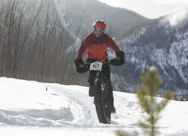 Veronica Hewitt, of Dillon, pedals in the third annual Frisco Freeze Fat Bike race on Saturday, Feb. 23, on the Frisco Peninsula. Hewitt placed first in the women's open division race on the 14K course with a time of 1 hour and 2 minutes.
