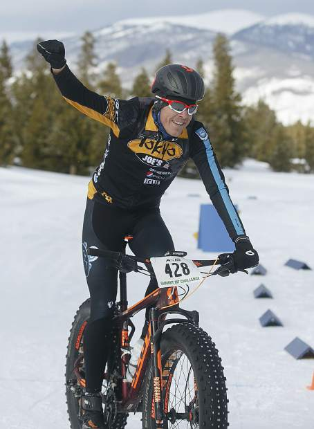 Taylor Shelden, of Breckenridge, crosses the finish line at the third annual Frisco Freeze Fat Bike race on Saturday, Feb. 23, on the Frisco Peninsula. Sheldon placed first on the 14K course with a time of 42 minutes and 24 seconds.