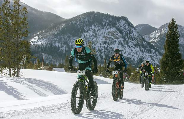 Tony Baca Soto, of Longmont, pedals in the third annual Frisco Freeze Fat Bike race on Saturday, Feb. 23, on the Frisco Peninsula. Baca Soto placed second on the 14K course with a time of 43 minutes and 47 seconds.