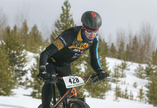 Taylor Shelden, of Breckenridge, pedals in the third annual Frisco Freeze Fat Bike race on Saturday, Feb. 23, on the Frisco Peninsula. Sheldon placed first on the 14K course with a time of 42 minutes and 24 seconds.
