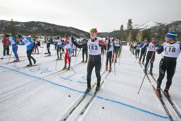 Participants in the 49th Annual Frisco Gold Rush await to take off for the 20 kilometer race Saturday, Feb. 9, on the Frisco Peninsula.