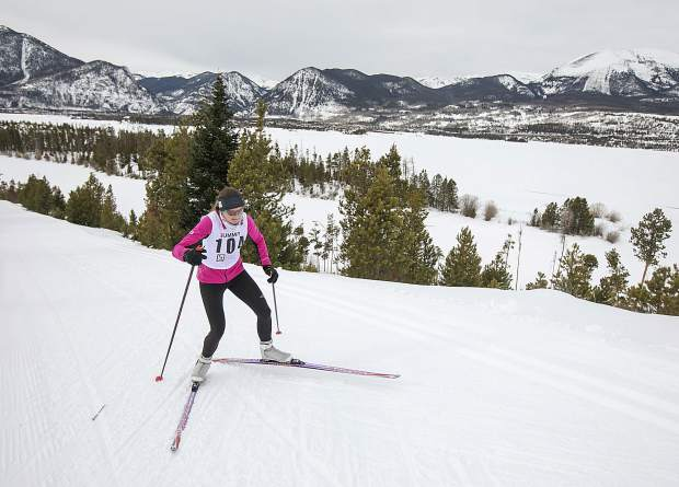 A participant races in the 20 kilometer course during the 49th Annual Frisco Gold Rush Saturday, Feb. 9, on the Frisco Peninsula.
