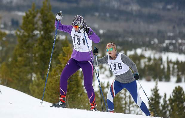 Cross-country skiers climb uphill in the 20 kilometer race during the 49th Annual Frisco Gold Rush Saturday, Feb. 9, on the Frisco Peninsula.