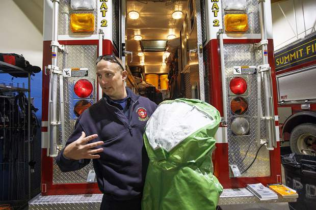 Red, White, and Blue Fire Department Battalion Chief Ryan Roberts talks about the equipment used for hazardous material emergency situations Wednesday, Feb. 6, at Station 2 in Frisco.