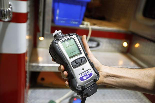 A meter used to detect hazardous materials Wednesday, Feb. 6, at Station 2 in Frisco.