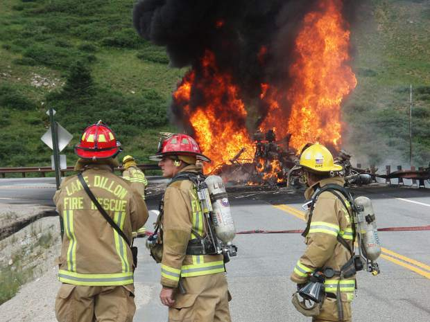 In this fuel-tanker rollover on Loveland Pass on Aug. 5, 2009, firefighters chose to let the majority of the fuel burn rather than to deal with the runoff created by extinguishing it and the difficulty of containing the unburned fuel.