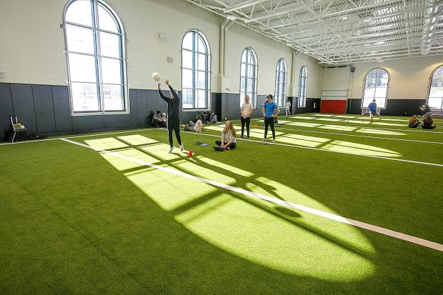 Summit High School students at gym class in the school's new indoor turf gym, Thursday, Jan. 31, in Breckenridge.