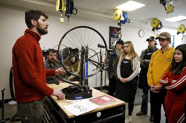 Summit High School students listen to Ben Ferrante, of Rocky Mountain Wheel Works, during bike tech class Thursday, Jan. 31, in Breckenridge.