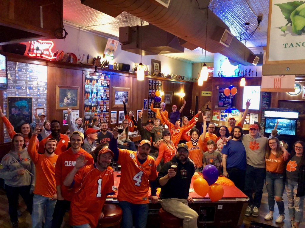 Members of the Fort Collins Colorado Clemson Club enjoy Monday night's national championship game at the Steak-Out Saloon.