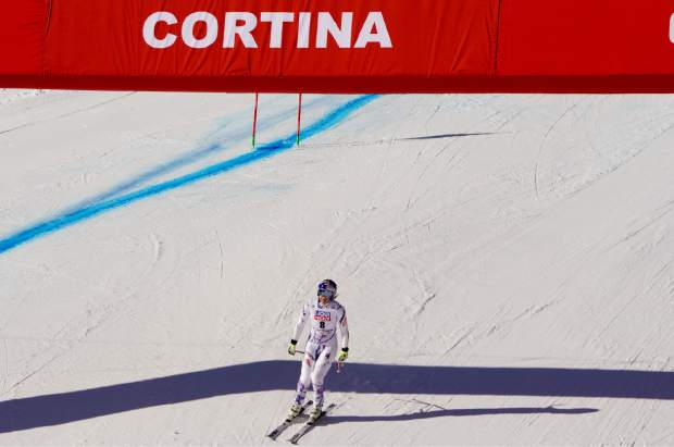 Lindsey Vonn descends the course during an alpine ski, women's World Cup super-G in Cortina D'Ampezzo, Italy, Sunday, Jan. 20, 2019.