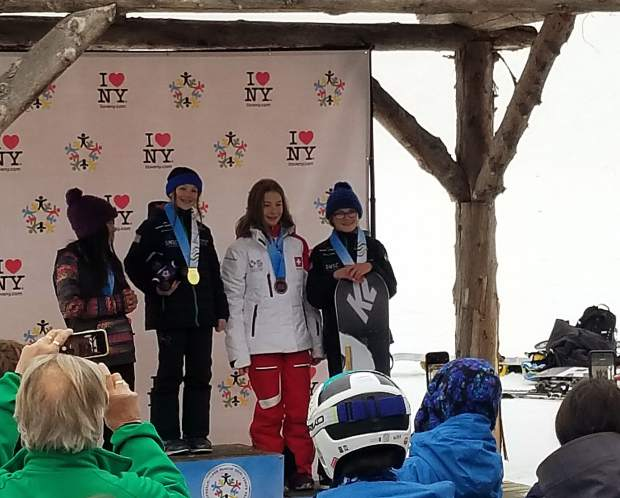 Team Frisco swept the podium in the girls snowboard slopestyle competition at the International Children's Games in Lake Placid, New York. Pictured from right to left are Alina Cospolich, bronze, Alyssa Moroco, gold, and Jadyn Dalrymple, silver.