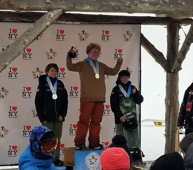 Team Frisco placed two athletes on the boys snowboard slopestyle podium at this week's International Children's Games in Lake Placid, New York, including silver medalist Karis Stang (left) and bronze medalist Bodie Heflin (right).