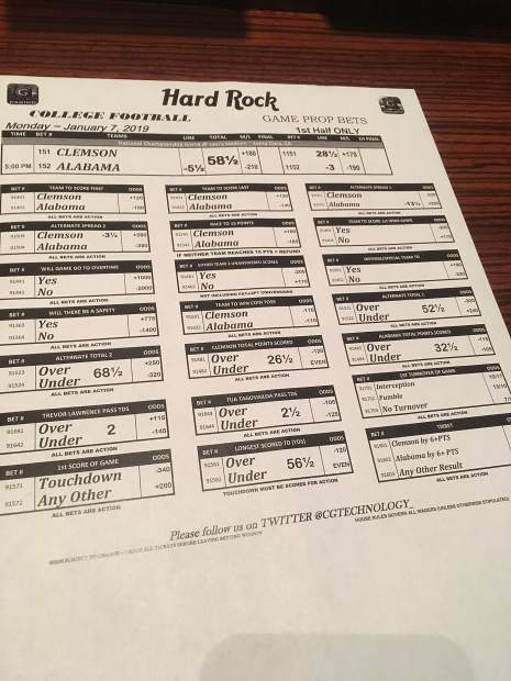 The prop bets on the Clemson vs. Alabama national championship game at the Hard Rock Hotel & Casino in Las Vegas Monday morning.