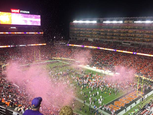 The confetti guns fire on all cylinders after my favorite team, the Clemson Tigers, won the College Football Playoff national championship game at Levi's Stadium in Santa Clara, California on Monday night.