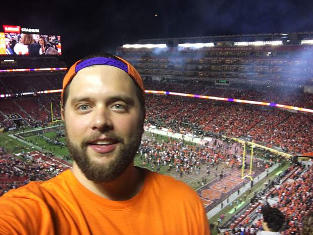 My obligatory selfie in celebration of my favorite team, the Clemson Tigers, winning the College Football Playoff national championship at Levi's Stadium in Santa Clara, California on Monday night.