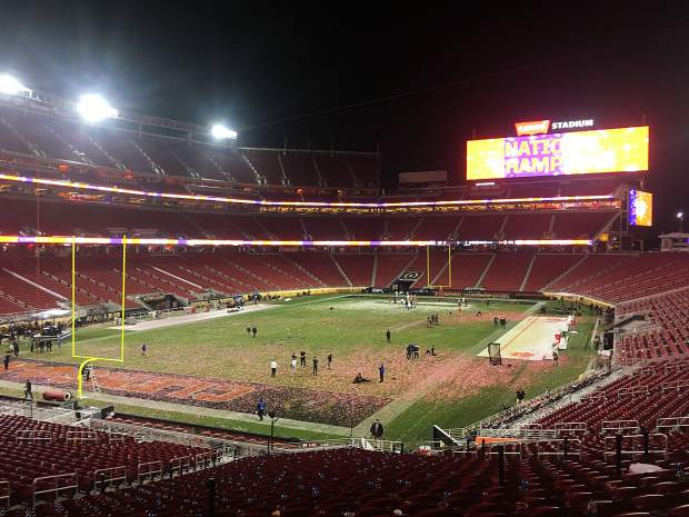 I was one of the final fans in Levi's Stadium at 10:05 P.S.T., when I took this photo of Levi's Stadium crews cleaning up the confetti-covered celebratory mess after my favorite team, the Clemson Tigers, won the College Football Playoff national championship game.