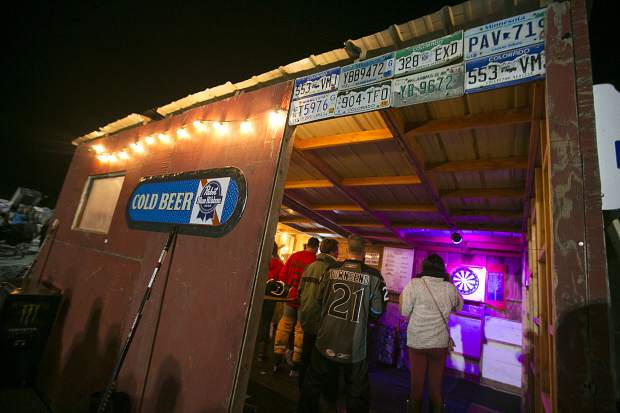 A temporary bar on top of North Pond Park for the spectators and hockey players in the Pabst Colorado Pond Hockey tournament Friday night, Feb. 15, in Silverthorne.