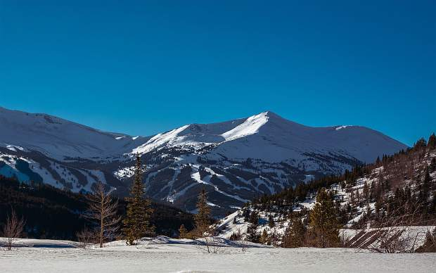 Breckenridge under blue skies.
