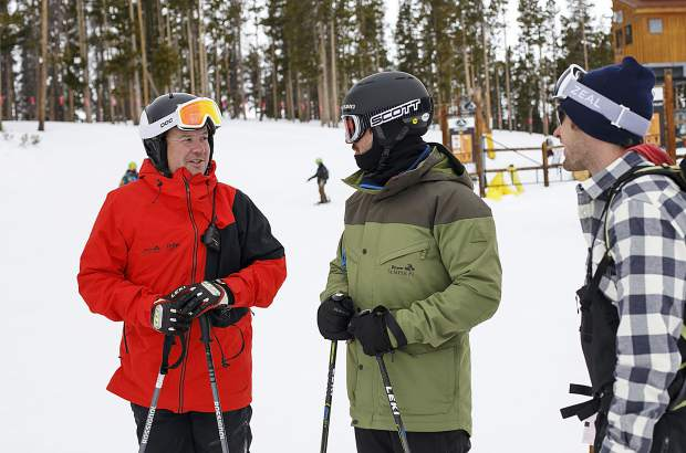 Jon Lujan, a retired sergeant in the U.S. Marine Corps, far left, chats with Chad Althusser, a retired major, and Josh Jespersen, a Navy SEAL, far right, as part of the Semper Fi Fund adaptive military veterans program on Wednesday, Feb. 13, at Keystone Resort, hosted by the Keystone Adaptive Center.