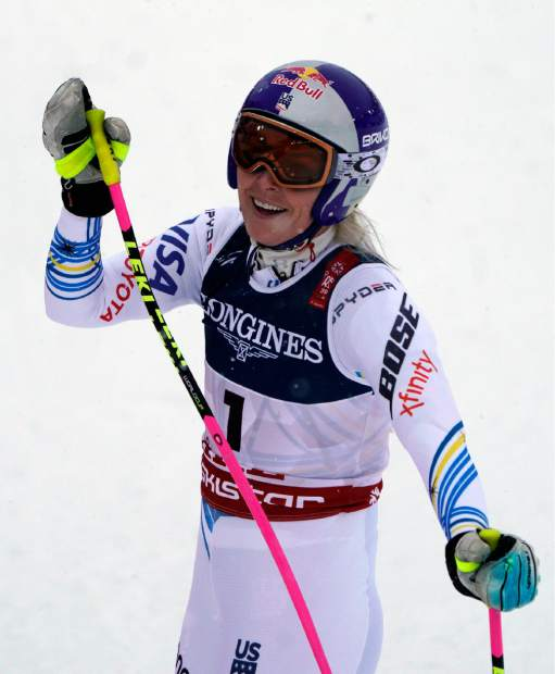 Lindsey Vonn gets to the finish area during the downhill portion of the women's combined at the alpine ski World Championships in Are, Sweden on Friday.
