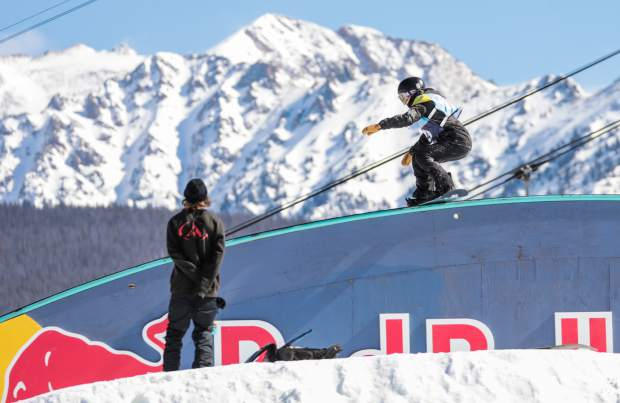 Julia Marino of the U.S. boardslides the Red Bull rainbow rail during the womens slopestyle semifinal round at the Burton US Open Snowboarding Championships on Wednesday in Vail. Marino placed second for Friday's finals.