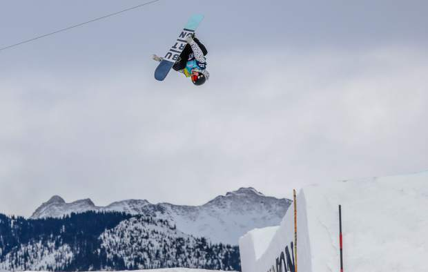 Lyon Farrell of Hawaii gets inverted during the men'ssSlopestyle semifinal round during the Burton US Open Snowboarding Championships on Wednesday, Feb. 28, in Vail. Farrell placed sixth to qualify for Friday's final.