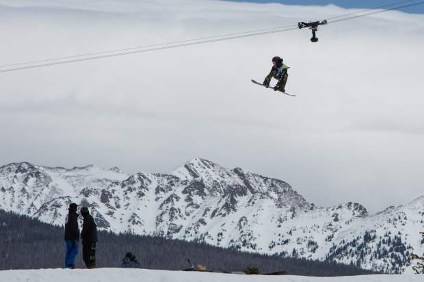 Ruki Tobita gets big air during the men's slopestyle semifinal round during the Burton US Open Snowboarding Championships on Wednesday in Vail. Tobita qualified second for Friday's final round.