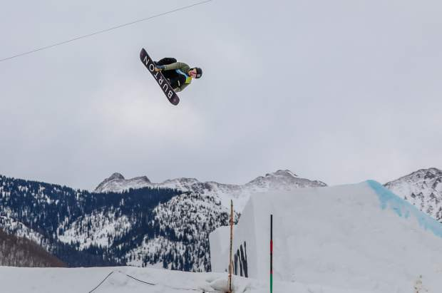 Red Gerard of Summit County sends it off of the first jump of the men's slopestyle course during the semifinal round at the Burton US Open Snowboarding Championships on Wednesday at Vail Mountain Resort. Gerard placed first for Friday's finals.