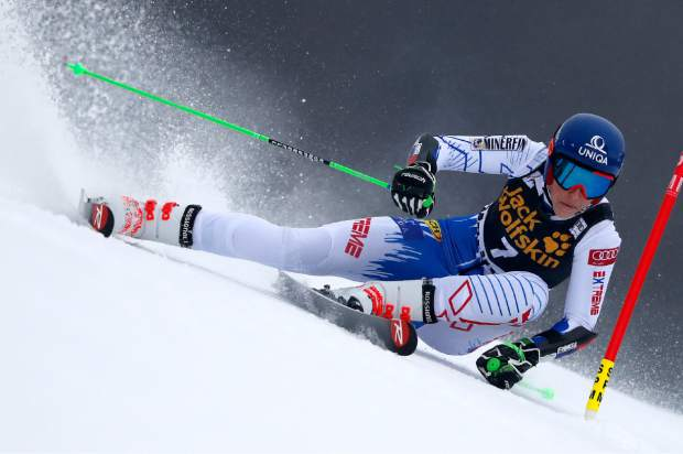 Slovakia's Petra Vlhova speeds down the course during an alpine ski women's World Cup giant slalom event in Maribor, Slovenia on Friday.