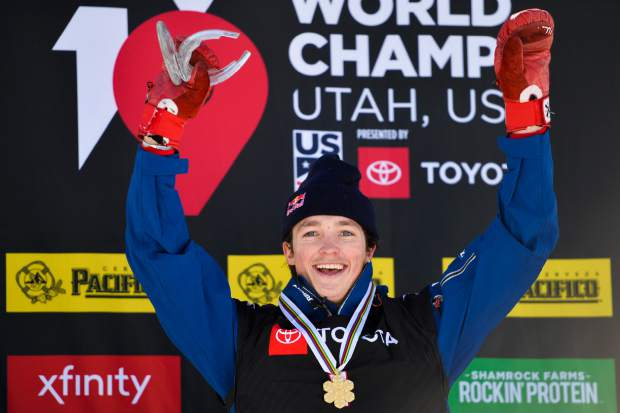 Gold medalist Scotty James, of Australia, celebrates after winning the men's snowboard halfpipe final at the freestyle ski and snowboard world championships on Friday in Park City, Utah.