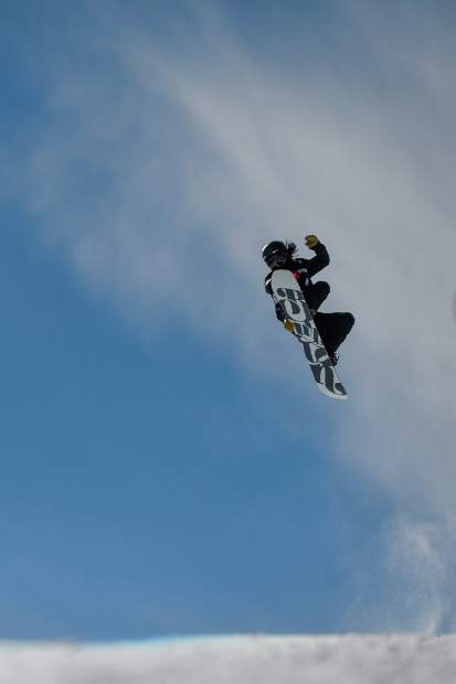 Xuetong Cai, of China, competes in the women's snowboard halfpipe final at the freestyle ski and snowboard world championships on Friday in Park City, Utah.
