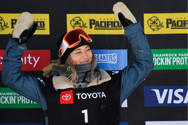 Gold medalist Chloe Kim, of the United States, celebrates after winning the women's snowboard halfpipe final at the freestyle ski and snowboard world championships on Friday in Park City, Utah.