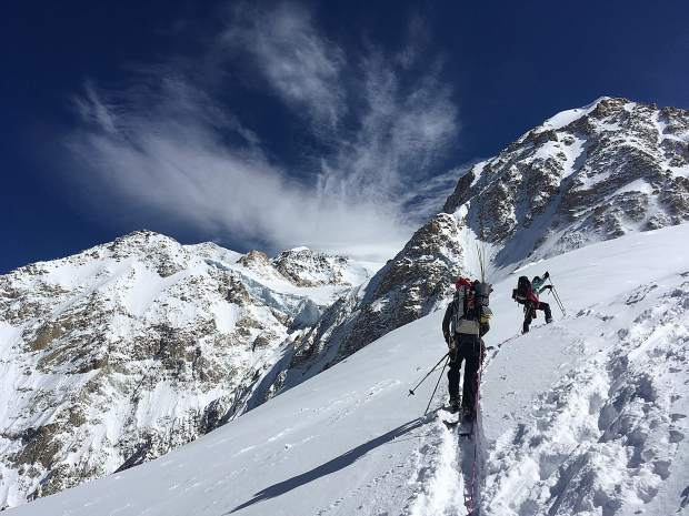 Breckenridge resident Pat Gephart took this photo of members of his group ascending toward the summit of Denali.
