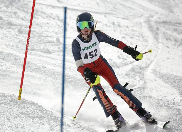 A Summit High School skier takes to the slalom course on the Copperopolis run on Friday, Jan. 25, at Copper Mountain Resort.