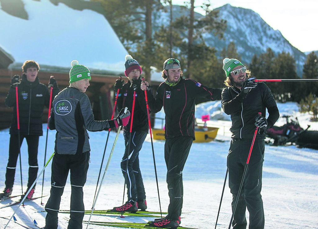 Summit Nordic head coach Olaf Hedberg, far right, leads practice Tuesday, Feb. 26, at the Frisco Nordic Center.