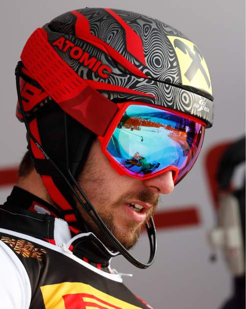 Austria's Marcel Hirscher competes during the men's slalom, at the alpine ski World Championships in Are, Sweden, Sunday, Feb. 17, 2019. (AP Photo/Gabriele Facciotti)