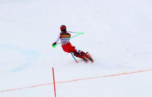 Austria's Marcel Hirscher competes during the men's slalom, at the alpine ski World Championships in Are, Sweden, Sunday, Feb. 17, 2019. (AP Photo/Alessandro Trovati)