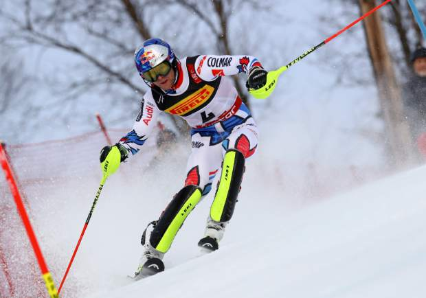 France's Alexis Pinturault competes during the men's slalom, at the alpine ski World Championships in Are, Sweden, Sunday, Feb. 17, 2019. (AP Photo/Alessandro Trovati)