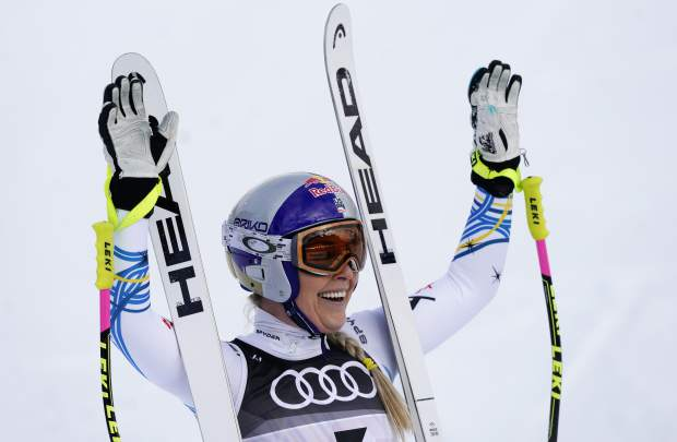 Lindsey Vonn smiles in the finish area after the women's downhill race, at the alpine ski World Championships in Are, Sweden on Sunday.