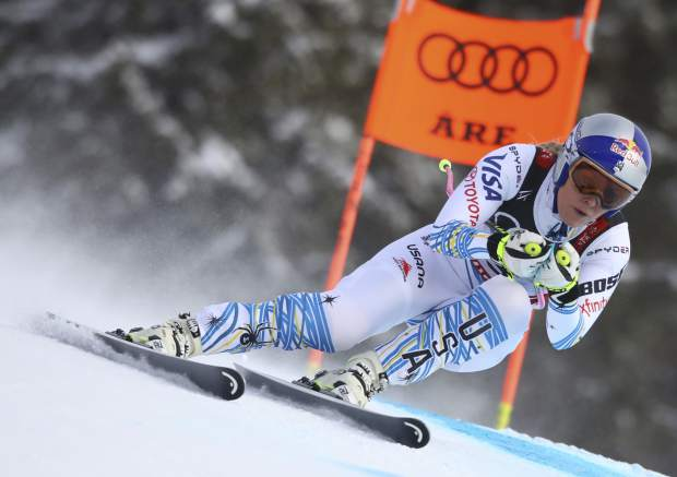 Lindsey Vonn speeds down the course during the women's downhill race, at the alpine ski World Championships in Are, Sweden on Sunday.