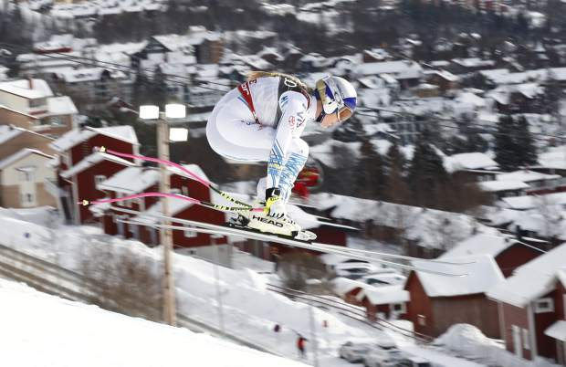Lindsey Vonn speeds down the course during the women's downhill race at the alpine ski World Championships in Are, Sweden on Sunday.